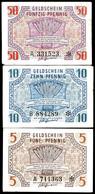 Rheinland-Pfalz, Landesregierung, 15.10.1947, 5, 10 Und 50 Pfennig, Ro. 211-213, Erhaltung III., Katalog: Ro. 211/13 III - Besatzungsgebiete In Deutschland