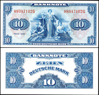10 Deutsche Mark, 1948, H 8047102 G, Ro. 238, Ganz Kleiner Fleck Unten Rechts, Erhaltung I., Katalog: Ro. 238 I - 1949-…: BRD
