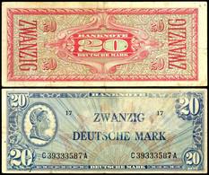 20 Deutsche Mark, Banknote, Ohne Datum, Liberty, C 39333587 A, Ro. 246 A, Erhaltung III., Katalog: Ro.246a III - 1949-…: BRD