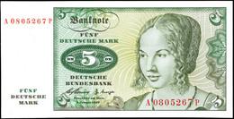 5 Deutsche Mark, Bundesbanknote, 2.1.1960, Serie A0805267 P, Ro. 262, Erhaltung I., Katalog: Ro. 262 I - 1949-…: BRD
