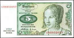 5 Deutsche Mark, Bundesbanknote, 2.1.1960, Serie A0805268 P, Ro. 262, Erhaltung I., Katalog: Ro. 262 I - 1949-…: BRD