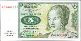 5 Deutsche Mark, Bundesbanknote, 2.1.1960, Serie A0805269 P, Ro. 262, Erhaltung I., Katalog: Ro. 262 I - 1949-…: BRD