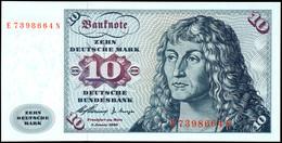 10 Deutsche Mark, Bundesbanknote, 2.1.1960, Serie E 7398664 N, Ro. 263, Erhaltung I., Katalog: Ro. 263 I - 1949-…: BRD