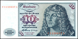 10 Deutsche Mark, Bundesbanknote, 2.1.1960, Serie F 1130657 A, Ro. 263, Erhaltung I., Katalog: Ro. 263 I - 1949-…: BRD