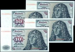 4x 10 Deutsche Mark, Bundesbanknote, 2.1.1960, Serie F 1130651 A Fortlaufend (52, 53 Und 54), Ro. 263, Erhaltung I., Kat - 1949-…: BRD