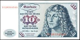 10 Deutsche Mark, Bundesbanknote, 2.1.1970, Austauschnote Serie YC 2053454 A, Ro. 270, Erhaltung I., Katalog: Ro. 270 I - 1949-…: BRD