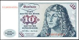 10 Deutsche Mark, Bundesbanknote, 2.1.1970, Austauschnote Serie YC 2053455 A, Ro. 270, Erhaltung I., Katalog: Ro. 270 I - 1949-…: BRD