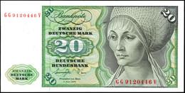 20 Deutsche Mark, Bundesbanknote, 1.6.1977, Serie GG 9120446 V, Ro. 276, Kleiner Bug Links Am Rand, Sonst Erhaltung I.,  - 1949-…: BRD