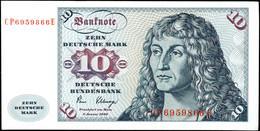 10 Deutsche Mark, Bundesbanknote, 2.1.1980, Serie CP 6959866 E, Ro. 286, Erhaltung II., Katalog: Ro. 286 II - 1949-…: BRD