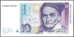 10 Deutsche Mark, Bundesbanknote, 2.1.1989, Serie AA 0851963Z1, Ro. 292, Minimaler Bug Mitte Unten, Sonst Erhaltung I.,  - 1949-…: BRD