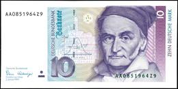 10 Deutsche Mark, Bundesbanknote, 2.1.1989, Serie AA 0851964Z9, Ro. 292, Minimaler Bug Mitte Unten, Sonst Erhaltung I.,  - 1949-…: BRD