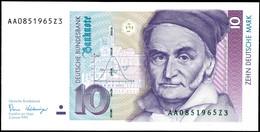 10 Deutsche Mark, Bundesbanknote, 2.1.1989, Serie AA 0851965Z3, Ro. 292, Minimaler Bug Mitte Unten, Sonst Erhaltung I.,  - 1949-…: BRD