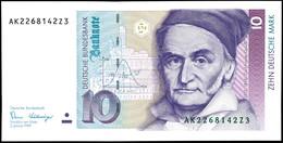 10 Deutsche Mark, Bundesbanknote, 2.1.1989, Serie AK 2268142Z3, Ro. 292, Kleiner Bug Mitte Unten, Sonst Erhaltung I., Ka - 1949-…: BRD