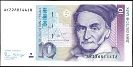 10 Deutsche Mark, Bundesbanknote, 2.1.1989, Serie AK 2268144Z8, Ro. 292, Kleiner Bug Mitte Unten, Sonst Erhaltung I., Ka - 1949-…: BRD