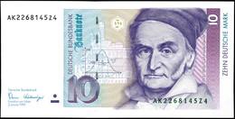 10 Deutsche Mark, Bundesbanknote, 2.1.1989, Serie AK 2268145Z4, Ro. 292, Kleiner Bug Mitte Unten, Sonst Erhaltung I., Ka - 1949-…: BRD