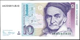 10 Deutsche Mark, Bundesbanknote, 2.1.1989, Serie AK 2268148Z0, Ro. 292, Kleiner Bug Mitte Unten, Sonst Erhaltung I., Ka - 1949-…: BRD