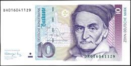 10 Deutsche Mark, Bundesbanknote, 1.8.1991, Serie DA 0160411Z9, Ro. 297, Kleiner Bug Mitte Unten, Sonst Erhaltung I., Ka - 1949-…: BRD
