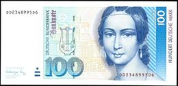 100 Deutsche Mark, Bundesbanknote, 1.8.1991, Serie DD2348995D6, Ro. 300 A, Kleiner Bug Oben Sonst Erhaltung I., Katalog: - 1949-…: BRD