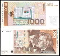 1000 Deutsche Mark, Bundesbanknote, 1.8.1991, Serie AA4783295D9, Ro. 302 A, Erhaltung I-II., Katalog: Ro.302a I-II - 1949-…: BRD