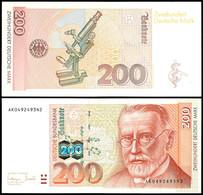 200 Deutsche Mark, Bundesbanknote, 2.1.1996, Serie AK0492493N2, Ro. 311 A, Erhaltung I-II., Katalog: Ro.311a I-II - 1949-…: BRD
