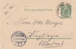 AUTRICHE 1907  ENTIER POSTAL/GANZSACHE/POSTAL STATIONERY CARTE AVEC CACHET FERROVIAIRE/ZUGSTEMPEL   KONSTANZ-BREGENZ - Interi Postali