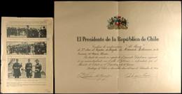 """Verleihungsurkunde Des Präsidenten Der Republik Chile Für Die Verdienstauszeichnung """"Al Merito"""" 2. Klasse, Datiert Santi - Documents"""