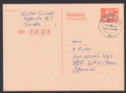 DDR Auslands-Ganzsache 25 Pfg. Berlin Mit Fernsehturm 4.11.86, P87I - Postkaarten - Gebruikt