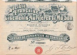 Sté. FRANÇAISE Des GISEMENTS AURIFÈRES De MÔ-SON - Tonkin  1903 - Shareholdings