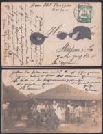 Kamerun 5 Pfg. Schiffszeichnung Mi.: 21 Auf Photokarte Einheimischen Vor Hütten, St. Victoria 7.1.14 Meißen Deutschland - Colonie: Cameroun