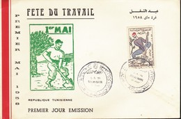 République Tunisienne FDC 1958 1er Mai Fête Du Travail /Fdc. - Tunisie (1956-...)