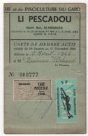 Carte Permis De Pêche Timbre Fiscal Pisciculture Du Gard Li Pescadou Bar Saint AMBROIX Club Halieutique - Vecchi Documenti