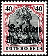 50 C. Auf 40 Pfg. Friedensdruck, Postfrisch, Signiert Hey BPP, Mi. 150.-, Katalog: 5Ia ** - Belgien