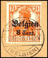 """8 C. Auf 7 1/2 Pfg. Germania Rötlichorange, Zw 1,3, Gestempelt """"Verviers 6.11.18"""" Auf Briefstück, Gepr. Hey BPP, Mi. Ohn - Belgien"""