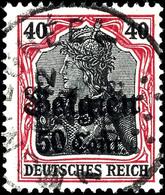 50c. Auf 40 Pfg. Germania Lilarot / Schwarz, Zw 0,8, Sauber Gestempelt Sig. Hey BPP, Mi. 400.-, Katalog: 20bI O - Belgien