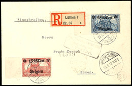 1 F. 25 C. Auf 1 M. Und 2 F. 50 C. Auf 2 M. Deutsches Reich, Letztere In Type IA, Je Mit Linkem Bogenrand Auf R-Brief Vo - Belgien
