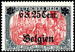 """6 F.25 C. Auf 5 Mk., Aufdruck Type II """"B Unter F"""", Postfrisch, Gepr. Hey BPP, Mi. 300,-, Katalog: 25II ** - Belgien"""