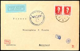 """VORLÄUFER: 1942, 8. Juli, Luftpost-Brief Von """"SHQYPNI"""" Mit Waagerechtem Paar 15 Q. Italienische Besetzung Nach Remscheid - Albanien"""