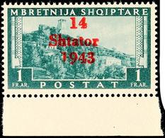 """1 Fr. Mit Aufdruckfehler """"kurze 1 In 1943"""", Postfrisch Vom Unterrand, Mi. 350.-, Katalog: 11VI ** - Albanien"""