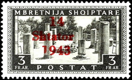 """3 Fr. Freimarke Mit Aufdruckfehler VI """" '1' Von '1943' Verkürzt"""", Tadellos Postfrisch, Gepr. Dr. Rommerskirchen BPP, Mi. - Albanien"""