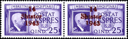 """25 Q. Eilmarke Im Waagr. Paar, Davon Rechte Marke Mit Aufdruckplattenfehler """"1 Von 1943 Unten Verkürzt"""", Postfrisch Ohne - Albanien"""