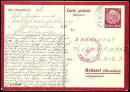 15 Pfg Hindenburg Auf Vordruckkarte Für Niederländische Zwangsarbeiter In Belgien Und Nordfrankreich, Antwortteil, Optis - Belgien