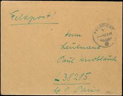 """1943, Feldpostbrief Mit Normstempel """"b 02.8.43"""" Von Guernsey Nach L38325 (Paris), Mit Komplettem Inhalt  BF - Besatzungsgebiete In Deutschland"""