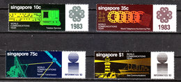 Singapore  - 1983. World Communication Year. Telex , Telephon, Satellite, Sea With Lighthouse. MNH Cpl. Series - Telecom