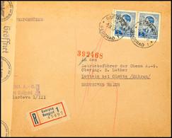 Mehrfachfrankatur (2) über 5 Din. Auf Portogerechtem Auslands-R-Brief Nach Luttein Im Protektorat Böhmen Und Mähren Mit  - Besatzungsgebiete In Deutschland