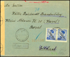 Mischfrankatur Aus 0,50 Din.(Paar Auf Der Briefrückseite) Mit 4 Din.(Paar) Auf Portogerechtem Auslands-R-Brief Nach Bran - Besatzungsgebiete In Deutschland