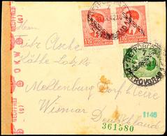 Mischfrankatur Aus 1 Din. Mit 1,50 Din.(2) Auf Portogerechtem Auslandsbrief Nach Wismar Mit Aufgabe-Stpl. PETROVGRAD 1/7 - Besatzungsgebiete In Deutschland