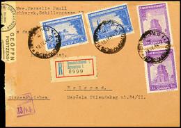 Mischfrankatur Aus 0,50 Din.(2) Mit 4 Din.(2) Auf Portogerechtem Inlands-R-Brief Nach Belgrad Mit Aufgabe-Stpl. PETROVGR - Besatzungsgebiete In Deutschland