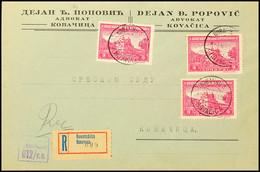 Mehrfachfrankatur über 3 Din.(3) Auf Portogerechtem Orts-R-Brief Mit Aufgabe-Stpl. KOVACICA/1 Vom 3.6.44 Und R-Zettel Mi - Besatzungsgebiete In Deutschland