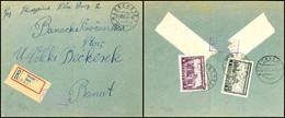 Mischfrankatur Aus 2 Din. Mit 7 Din. Auf Der Briefrückseite Eines Portogerechten Inlands-R-Briefes Nach Betschkerek Mit  - Besatzungsgebiete In Deutschland
