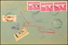 Mehrfachfrankatur über 3 Din.(3) Auf Portogerechtem Inlands-R-Brief Nach Vujicevo Mit Aptiertem Aufgabe-Stpl. KIKINDA/15 - Besatzungsgebiete In Deutschland